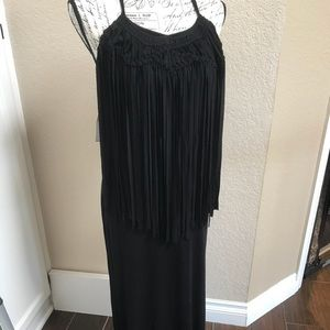 YFB Young Fabulous&Broke Blk Fringe Maxi Dress xs